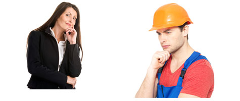 tradesman and business woman